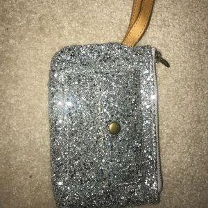 silver sparkly wristlet